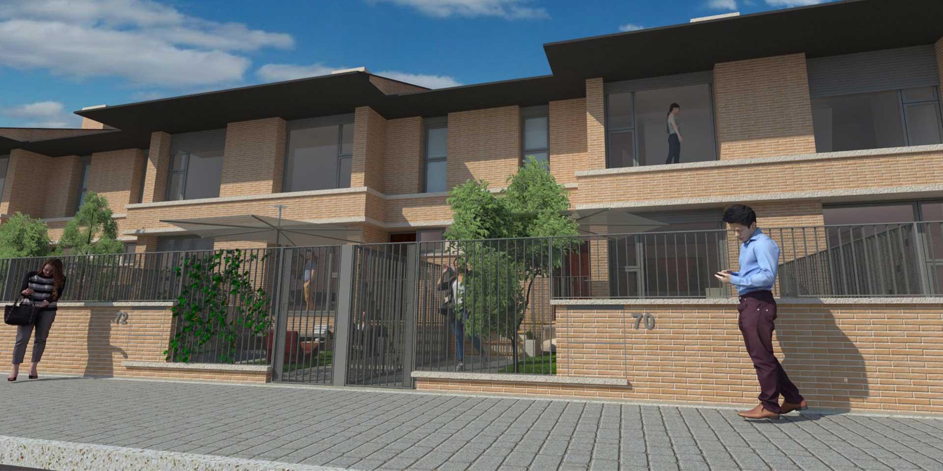 Fachada residencial continental--viviendas unifamiliares albacete