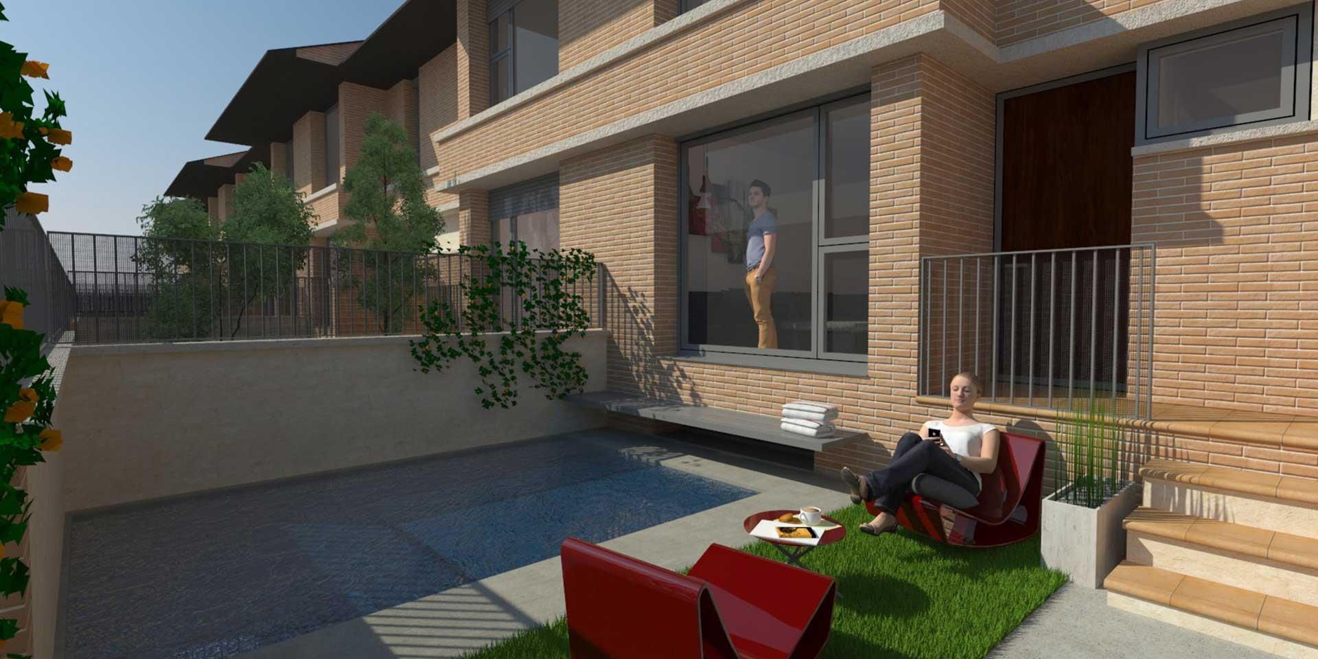Terraza con piscina residencial continental viviendas unifamiliares albacete