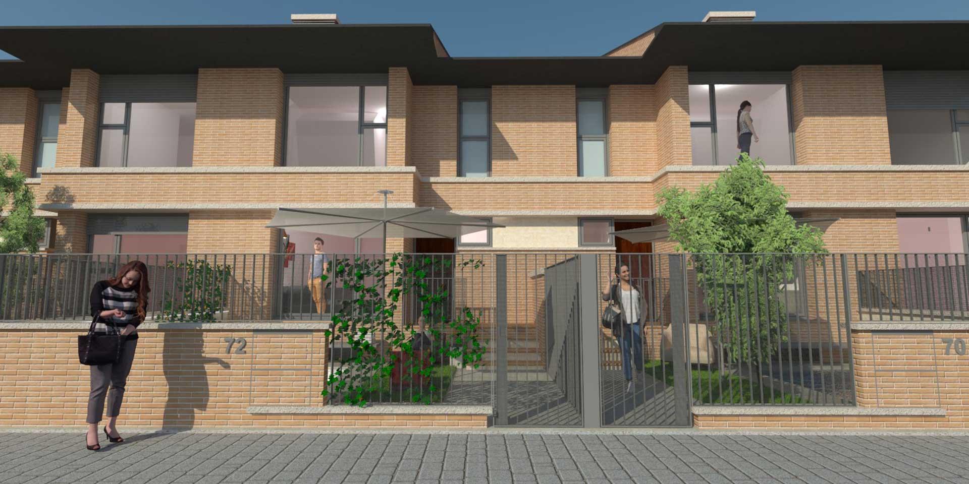 Vivienda nueva con piscina Fachada residencial continental viviendas unifamiliares albacete